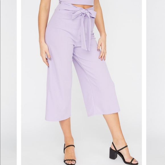 Crepe Pull-Up Self Tie Pant IN BABY BLUE